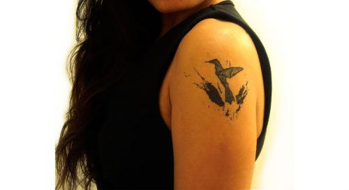 Temporary Tattoo Hummingbird Origami Style Worn By Model On Shoulder