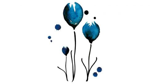 Temporary Tattoo Blue Tulips Watercolor