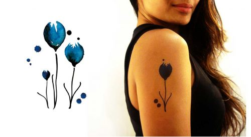 Temporary Tattoo Blue Tulips Watercolor Worn By Model