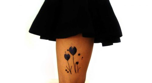 Temporary Tattoo Blue Tulips Watercolor Worn By Model On Thigh