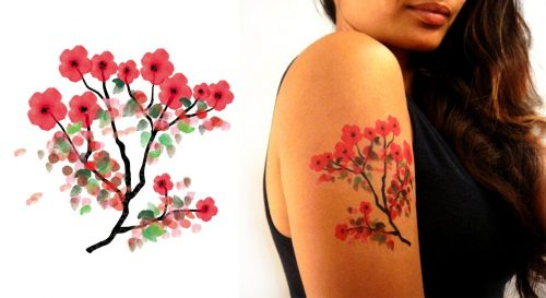 Temporary Tattoo Cherry Blossoms Watercolor Worn By Model