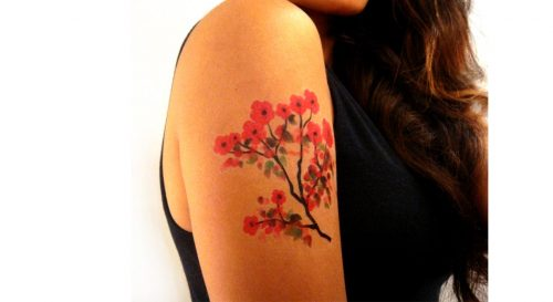 Temporary Tattoo Cherry Blossoms Watercolor Worn By Model On Shoulder