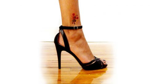 Temporary Tattoo Cherry Blossoms Watercolor Worn By Model In Heels