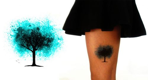 Temporary Tattoo Midnight Tree Watercolor Worn By Model