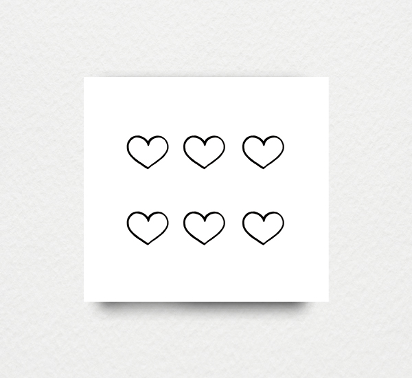 Tattoo Small Details: Small Hearts Temporary TattooSet Of 2 Sheets